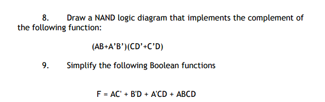 Solved  Draw A Nand Logic Diagram That Implements The Comp
