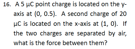 A 5 C point charge is located on the y- axis at (