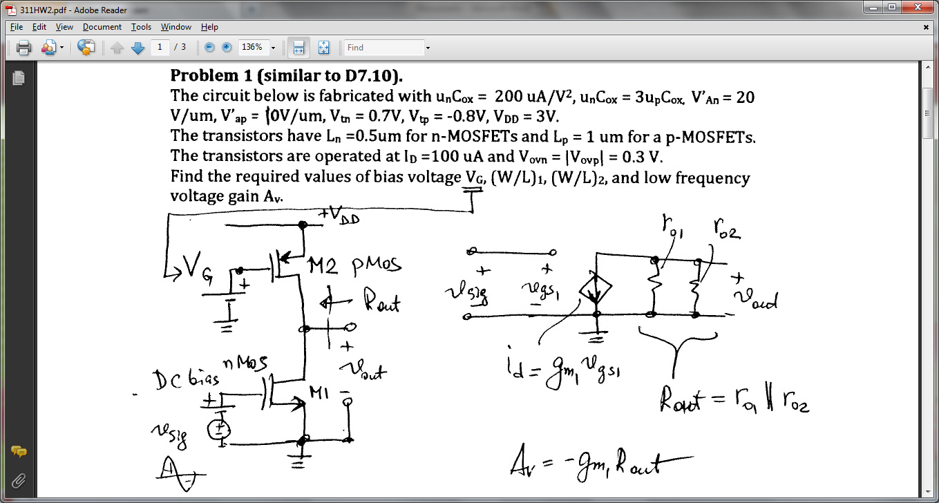 The circuit below is fabricated with un C ox = 200