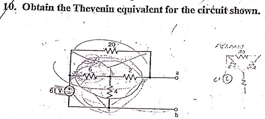 Obtain the Thevenin equivalent for the circuit sho