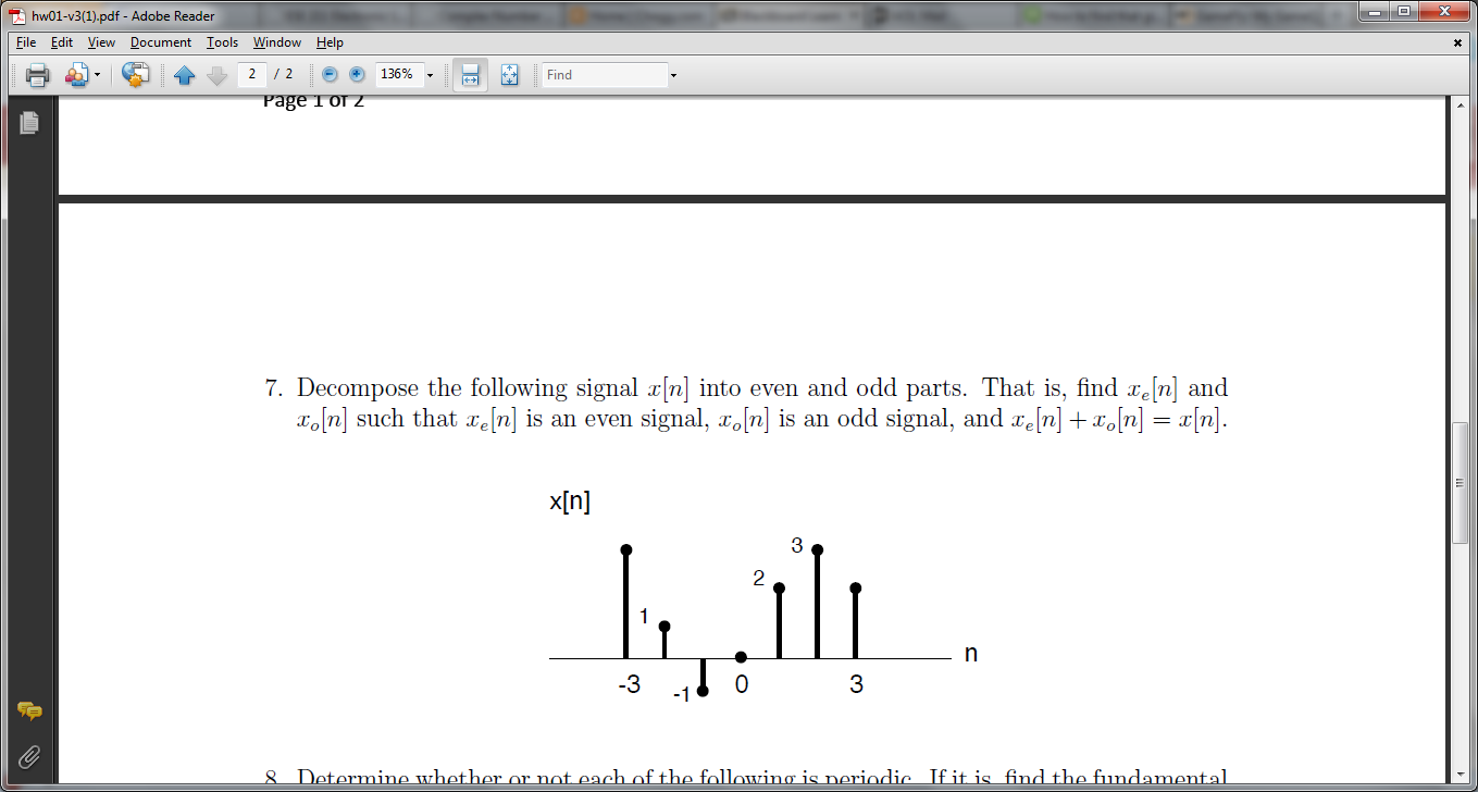 Decompose the following signal x[n] into even and