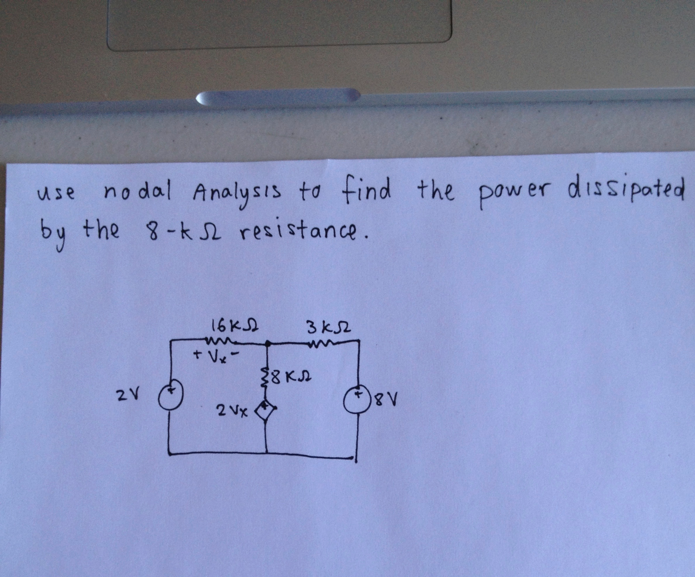 use nodal Analysis to find the power dissipoted by