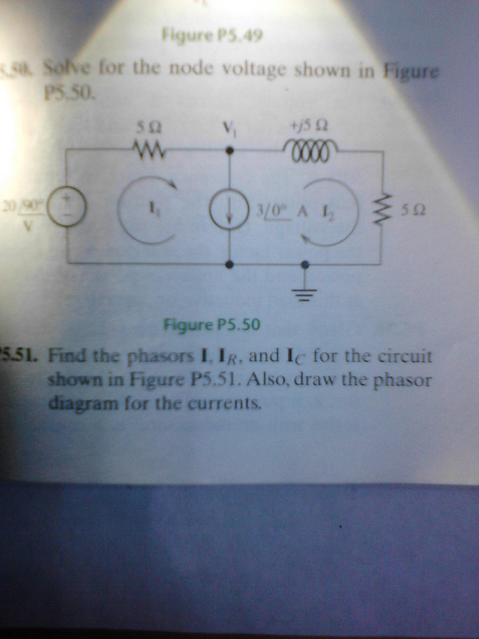 Draw Phasor Diagram Online Solve For The Node Voltage Shown Figure P