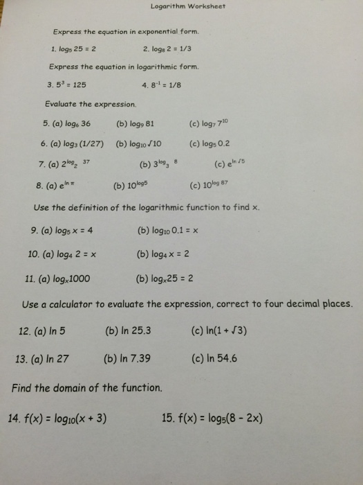 Logarithm worksheet express the equation in expone chegg logarithm worksheet express the equation in expone sciox Images