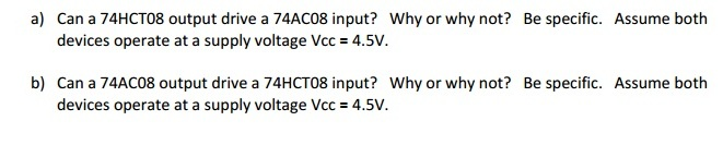 Can a 74HCT08 output drive a 74AC08 input? Why or