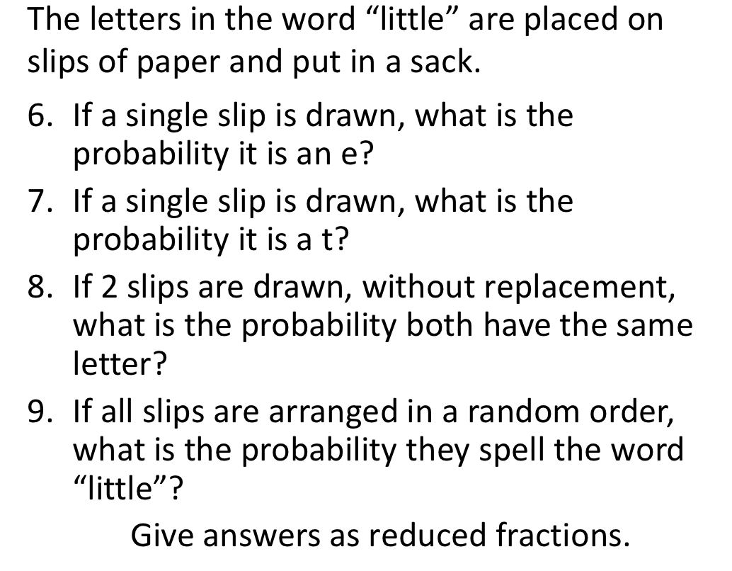 The letters in the word little are placed on slips chegg image for the letters in the word little are placed on slips of paper and put aljukfo Gallery