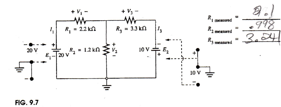 USING THE MEASURED RESISTOR VALUES, calculate the