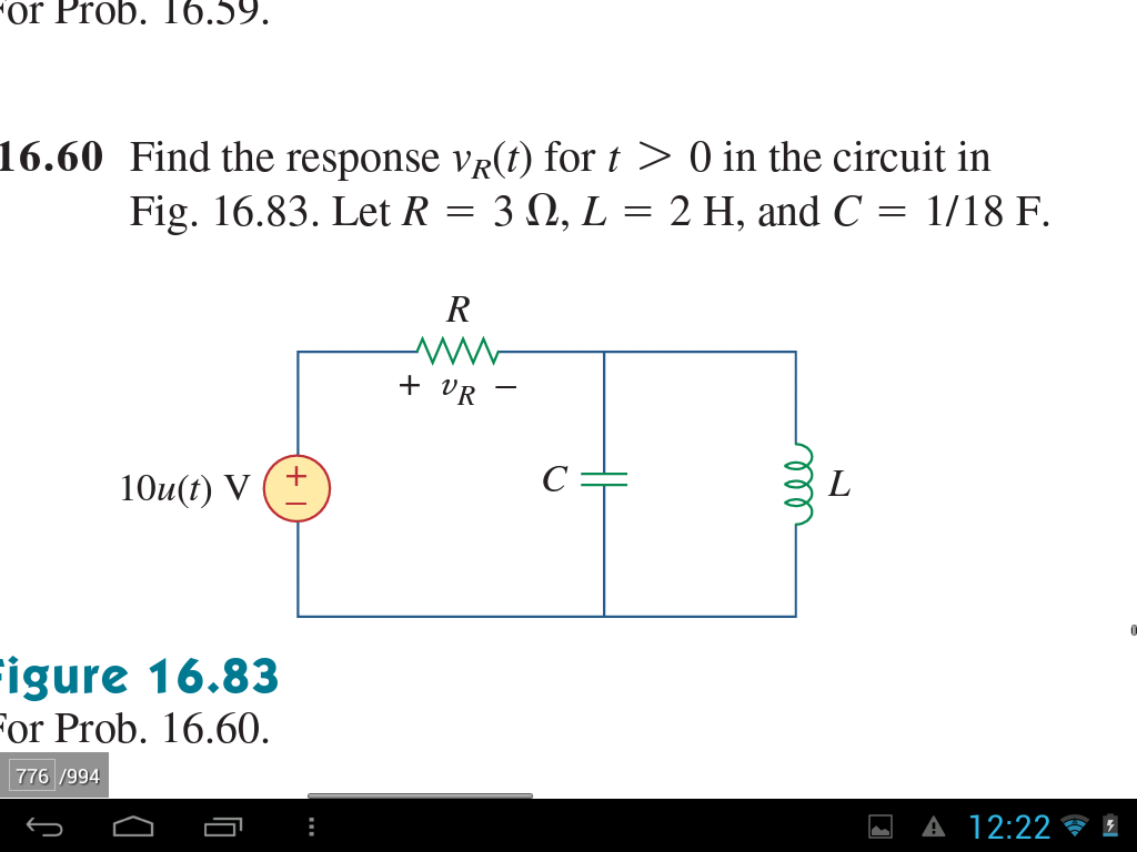Find the response vR(t) for t > 0 in the circuit i