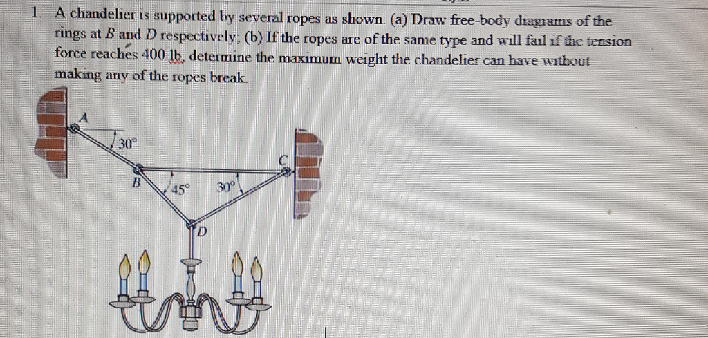 Solved a chandelier is supported by several ropes as show a chandelier is supported by several ropes as shown a draw aloadofball Images