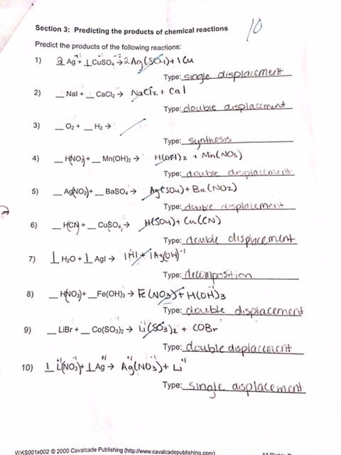 worksheet. Predicting The Products Of Chemical Reactions Worksheet ...