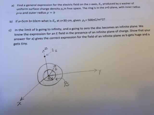 Find a general expression for the electric field o