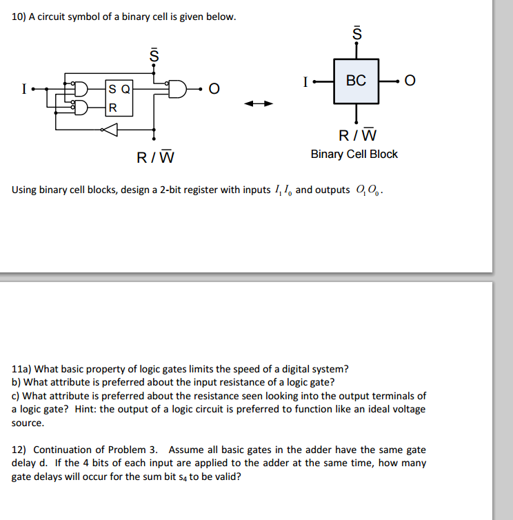 Solved: 10) A Circuit Symbol Of A Binary Cell Is Given Bel ...