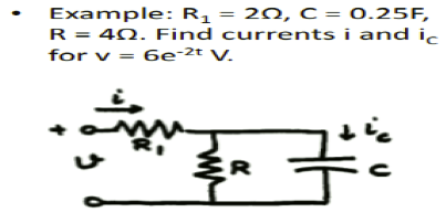 Example: R1 = 2 Ohm, C = 0.25F, R = 4 Ohm. Find cu