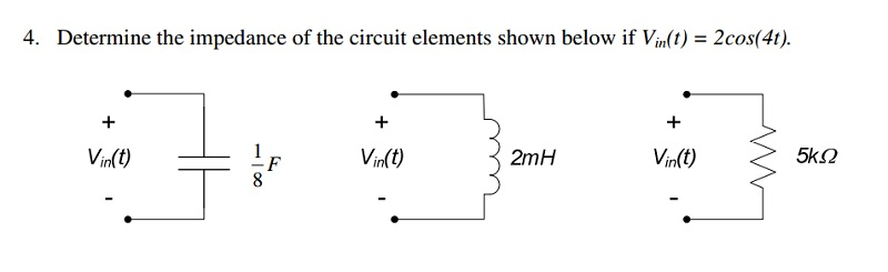 Determine the impedance of the circuit elements sh