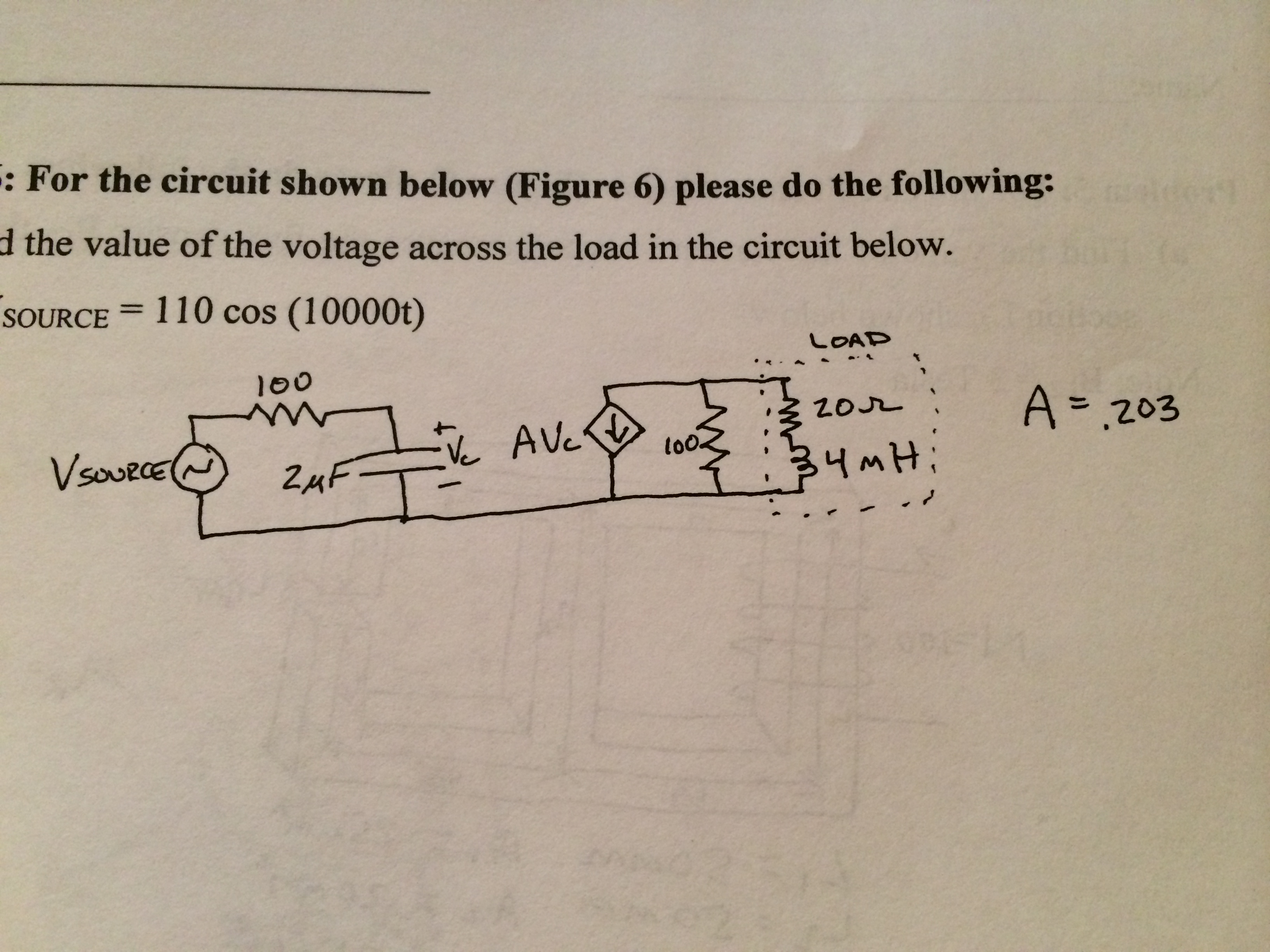 d the value of the voltage across the load in the