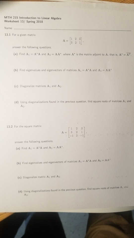 Solved: MTH 215 Introduction To Linear Algebra Worksheet 1 ...