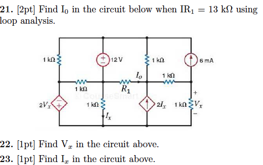 Find I0 in the circuit below when IR1 = 13 k Ohm u