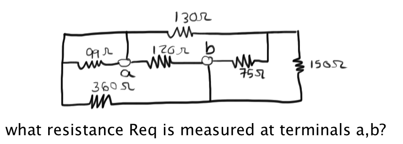 what resistance Req is measured at terminals a, b?