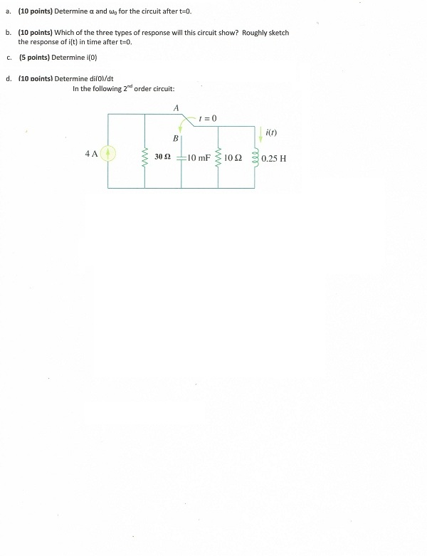 Determine a and uj0 for the circuit after t=0. Wh