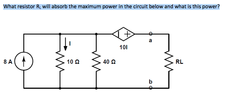 What resistor RL will absorb the maximum power in