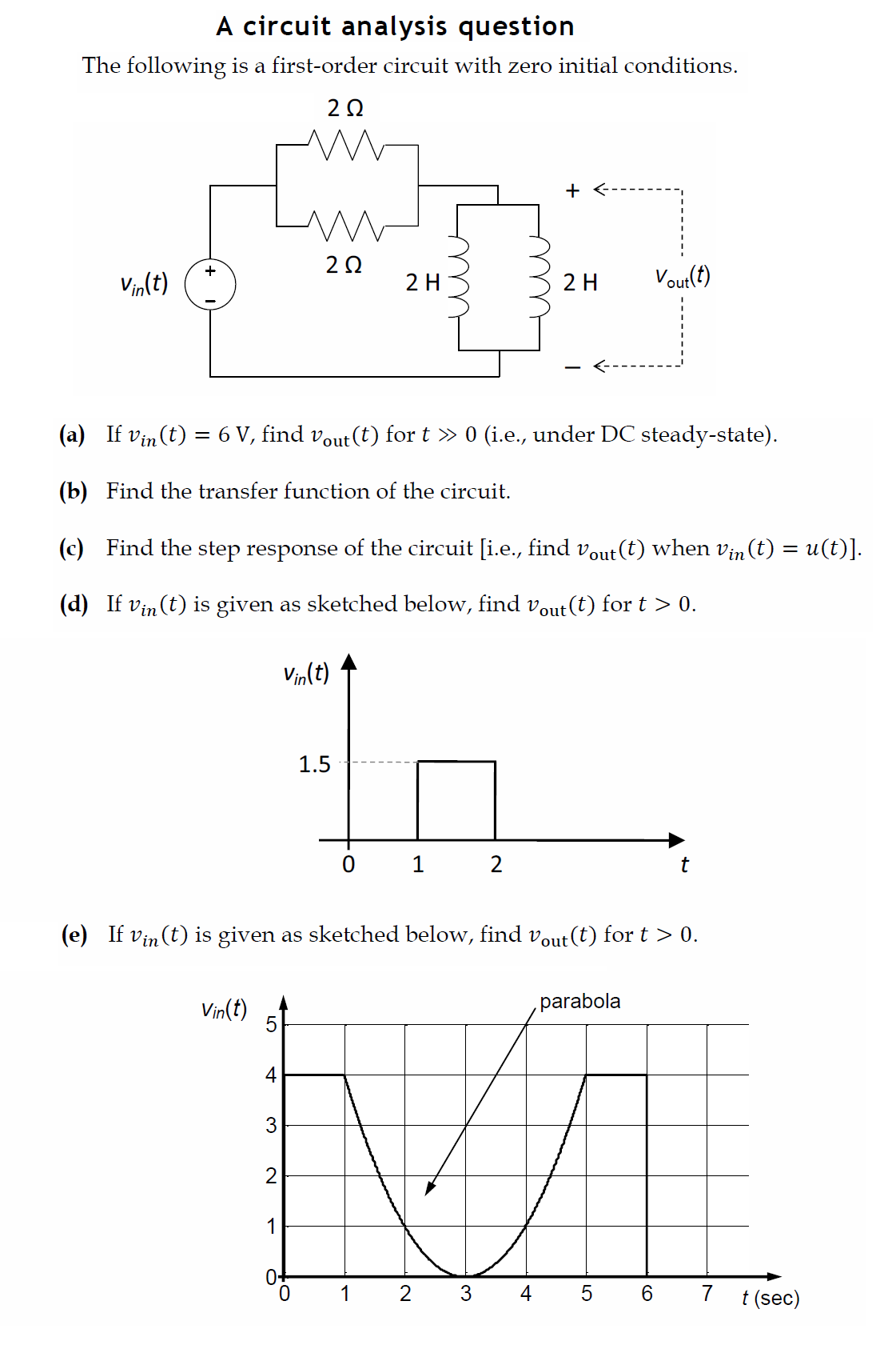 A circuit analysis question The following is a fi