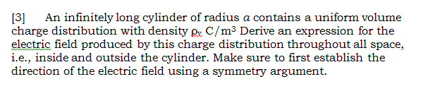 An infinitely long cylinder of radius a contains a