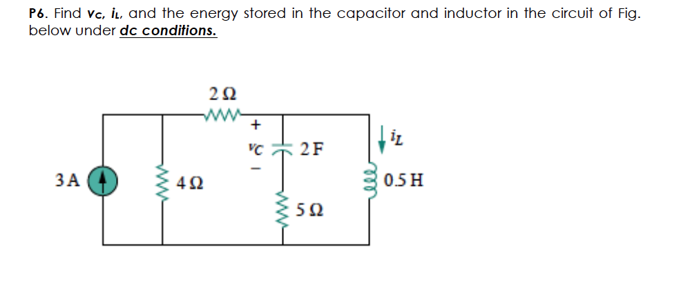 Find vc,il, and the energy stored in the capacitor