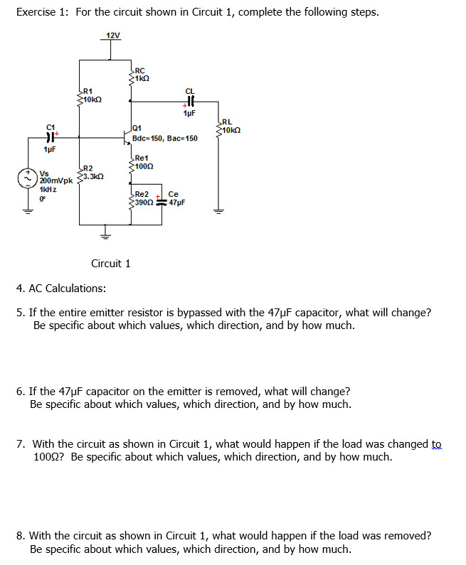For the circuit shown in Circuit 1, complete the f