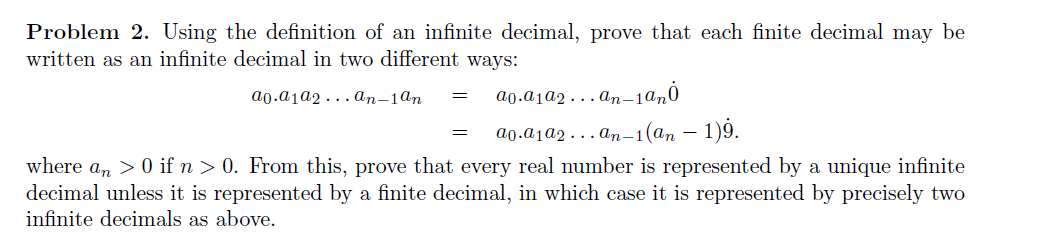 Using The Definition Of An Infinite Decimal, Prove That Each Finite Decimal  May Be Wri.