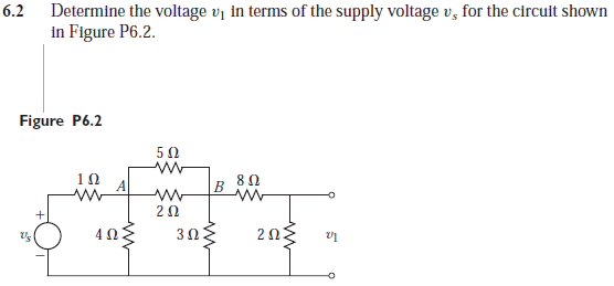 Determine the voltage V1 in terms of the supply vo