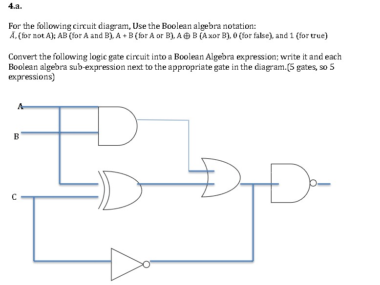 Solved  For The Following Circuit Diagram  Use The Boolean