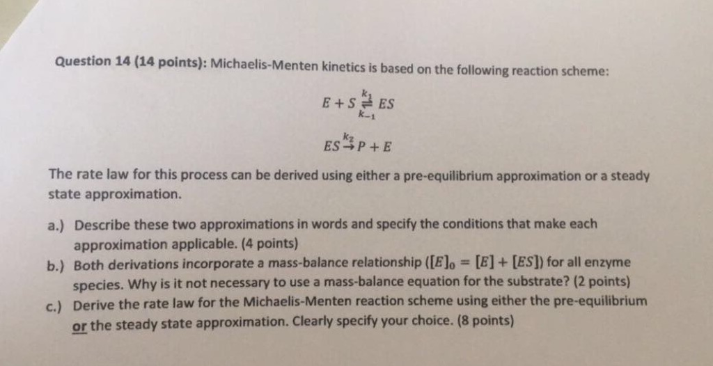Solved: Michaelis-Menten Kinetics Is Based On The Followin ...