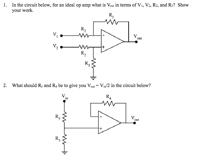 In the circuit below, for an ideal op amp what is