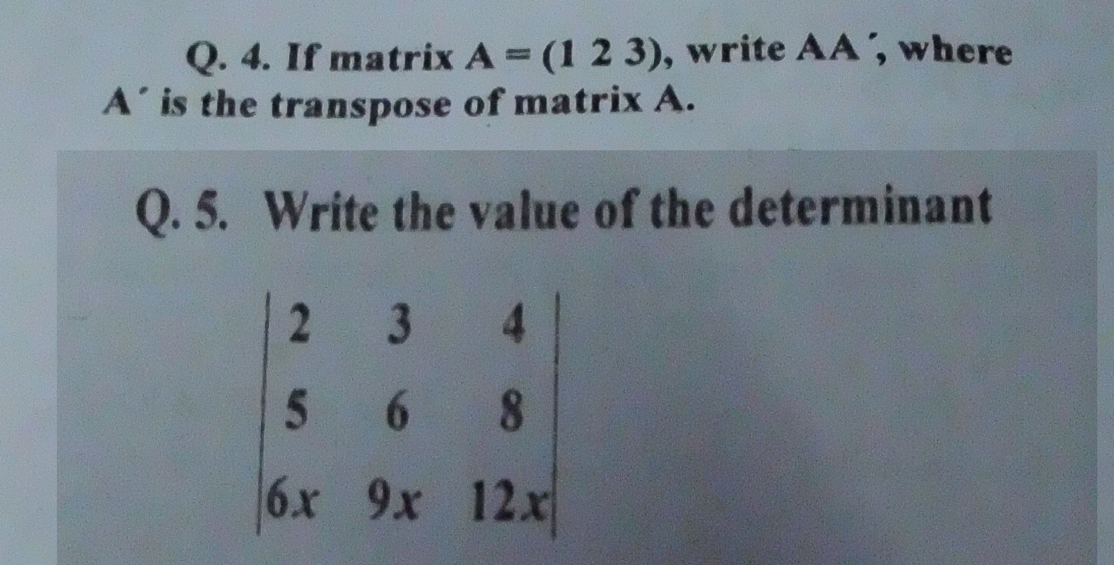 If matrix A = (1 2 3), write AA' where is the tr
