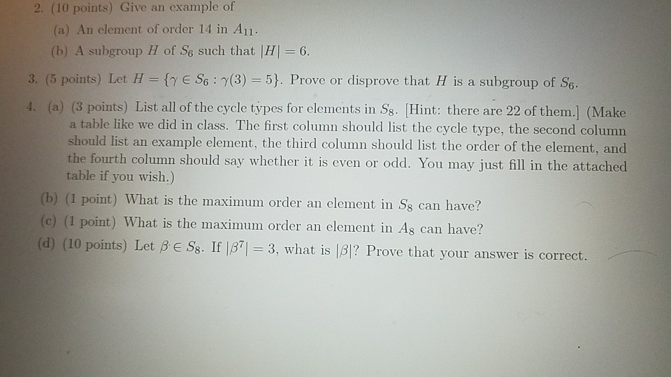 Solved 10 Points Give An Example Of A An Element Of O