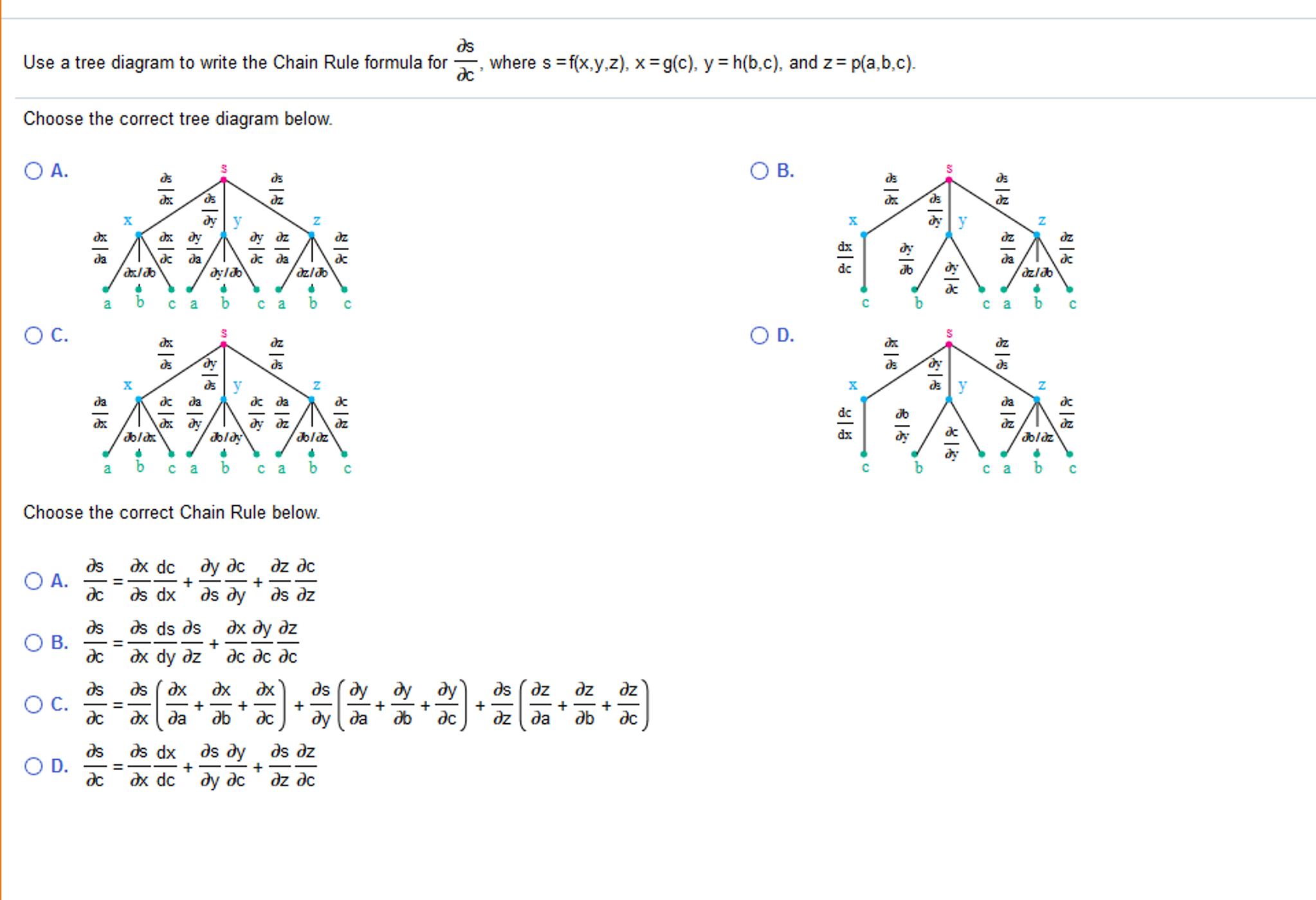 Solved use a tree diagram to write the chain rule formula use a tree diagram to write the chain rule formula ccuart Choice Image