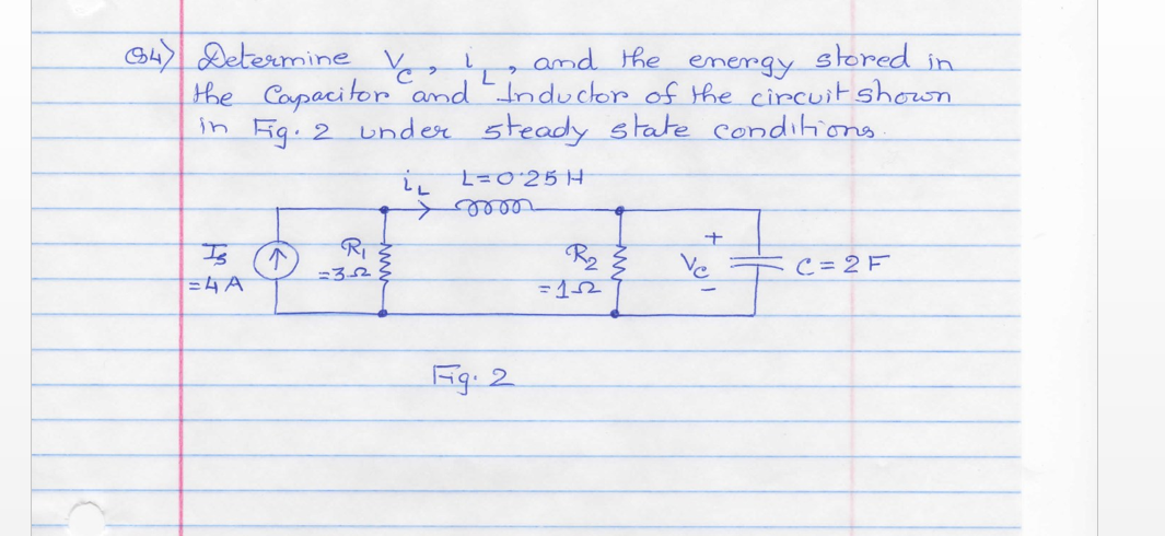 Determine vc, vl and the energy stored in the capa