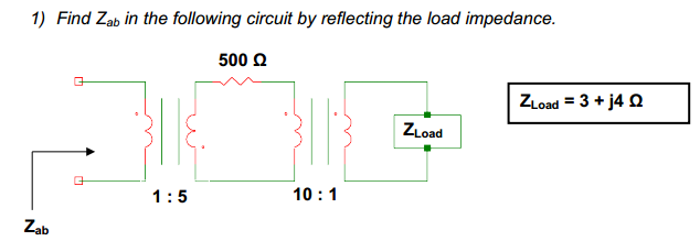 Find Zab in the following circuit by reflecting th