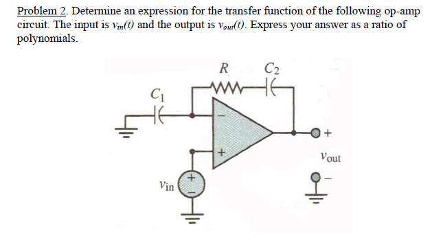Determine an expression for the transfer function