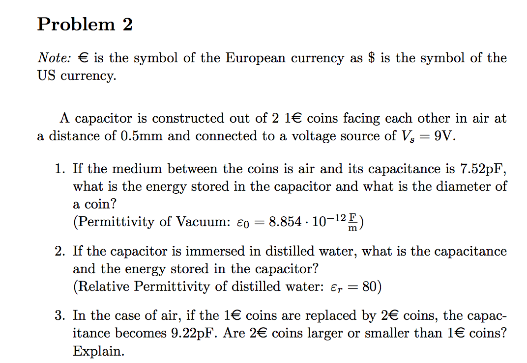 Solved: Problem 2 Note. Is The Symbol Of The European Curr ...
