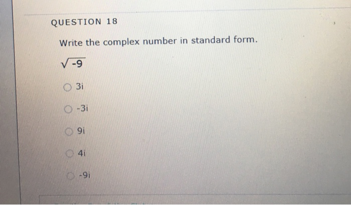 Solved Write The Complex Number In Standard Form Square