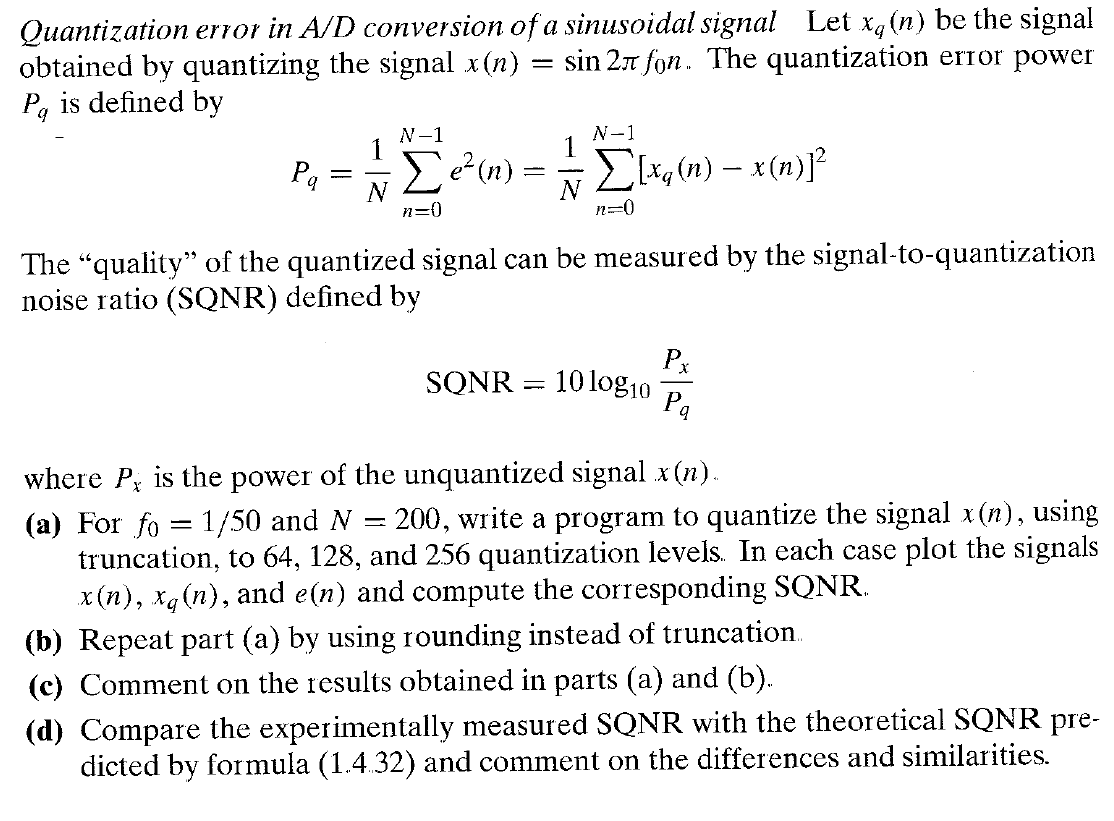 Quantization error in A/D conversion of a sinusoid