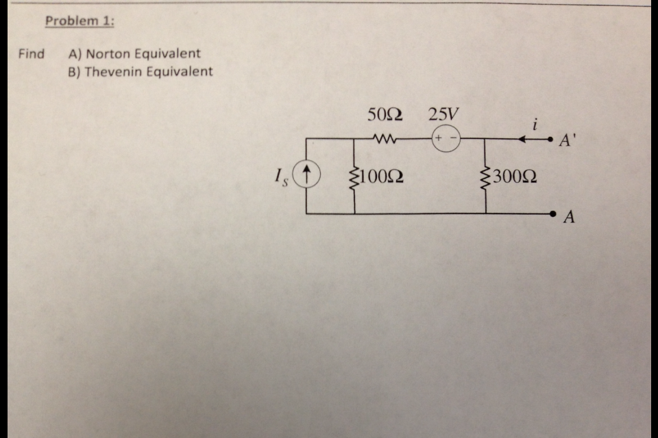 Find Norton Equivalent Thevenin Equivalent
