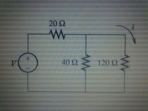 Given V=4V, find the current i in the circuit sh