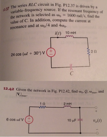 The series RLC circuit in Fig p12.37 is driven by