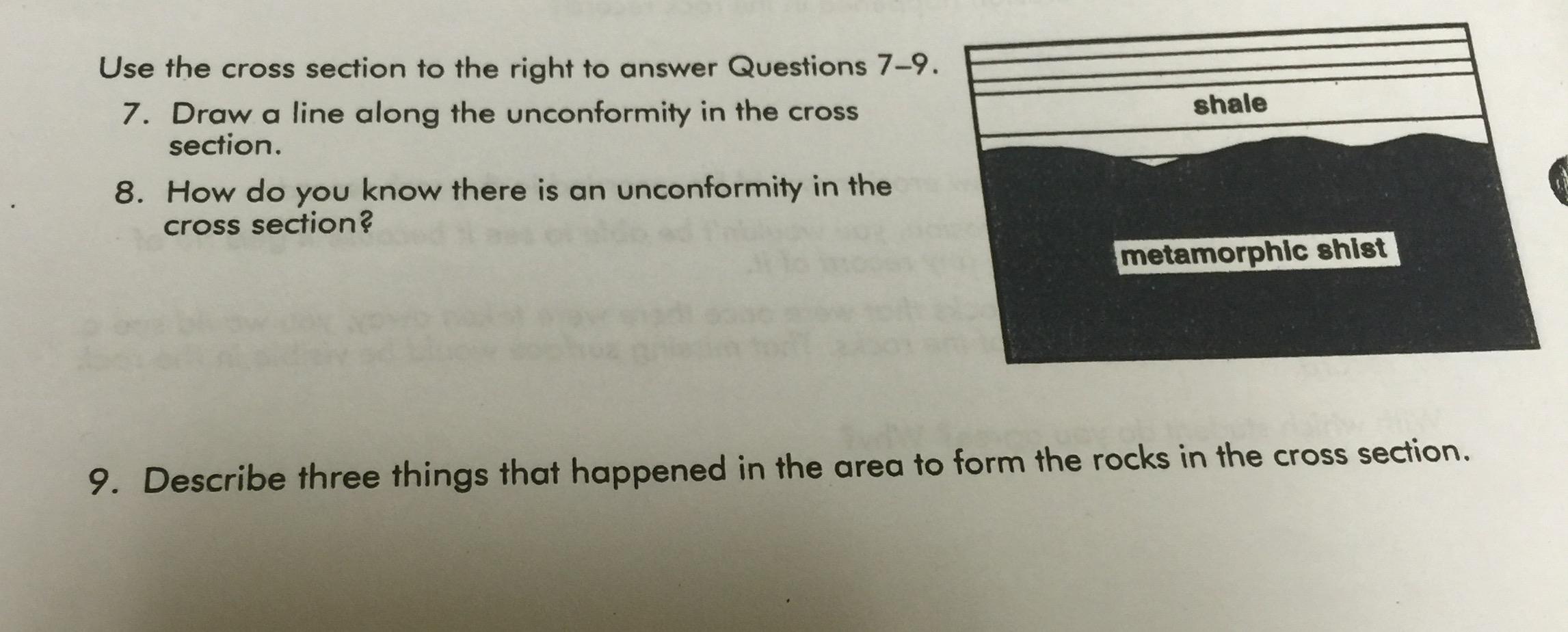 Draw A Line Along The Unconformity In The Cross Se... | Chegg.com