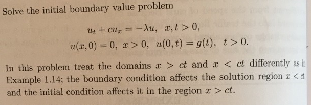 Solve the initial boundary value problem u_t + cu