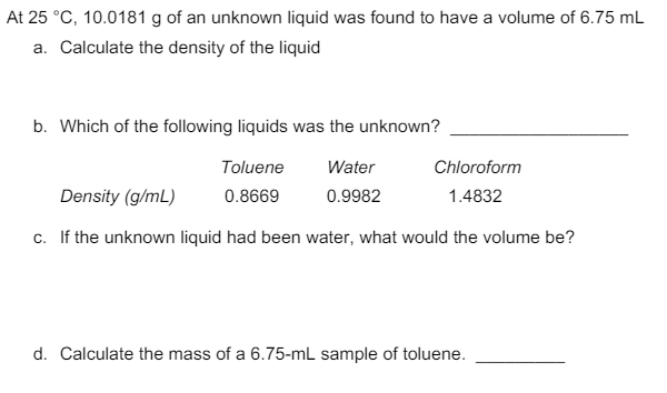 density of an unknown liquid a Experiment 2 – density name _____ lab section _____ density of a liquid – mass by difference the mass of a 250 ml sample of an unknown.