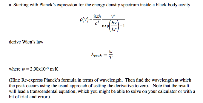 Starting with Planck's expression for the energy