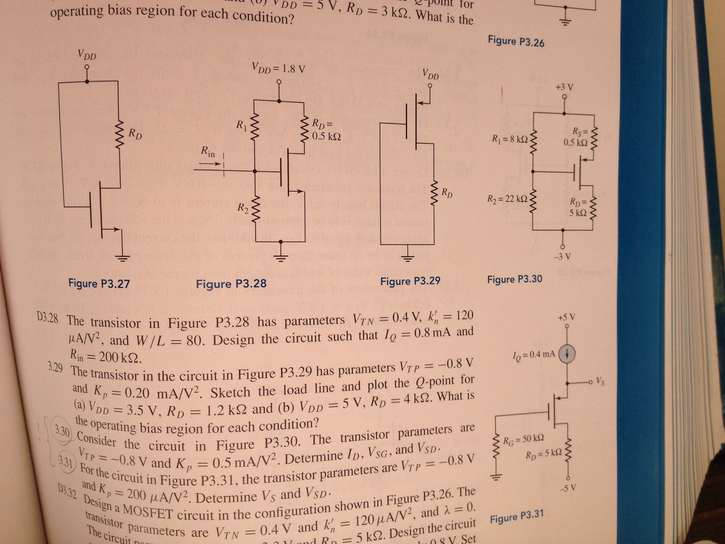 The transistor in Figure P3.28 has parameters D